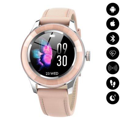 Montre connectée Bluetooth avec synchronisation des notifications - Rose Pale