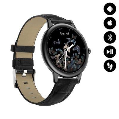 Montre connectée Bluetooth contrôle de musique, podométre - Bracelet Noir façcon croco