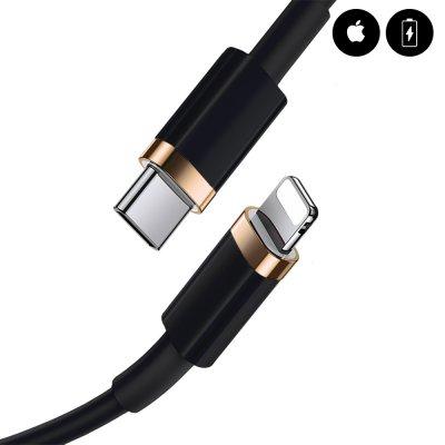 Câble lightning Type C 20W à charge rapide Noir 2m