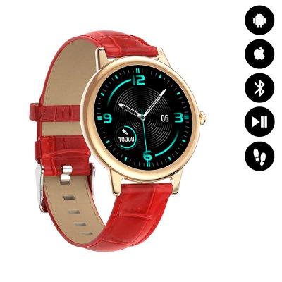 Montre connectée Bluetooth contrôle de musique, podométre - Bracelet Rouge façcon croco