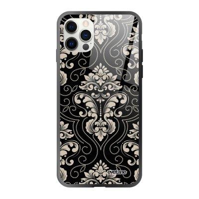 Coque iPhone 12/12 Pro soft touch effet glossy noir Ciment Design Evetane