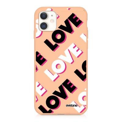 Coque iPhone 11 Silicone Liquide Douce rose pâle Love and Love Evetane.