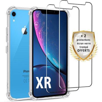 Coque iPhone XR Antichoc Silicone + 2 verres trempés.