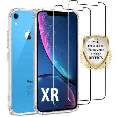 Coque iPhone XR Silicone + 2 verres trempés.