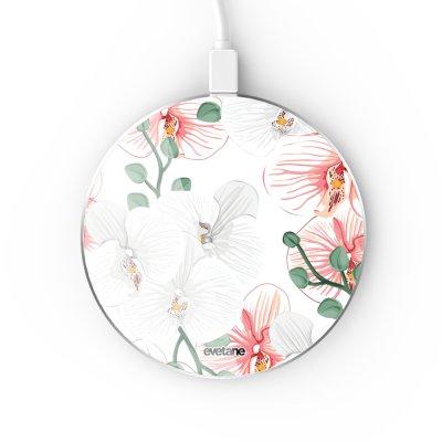 Chargeur Induction contour argent blanc Orchidées Evetane