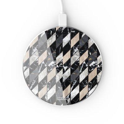 Chargeur Induction contour argent blanc Marbre Gris Beige Evetane