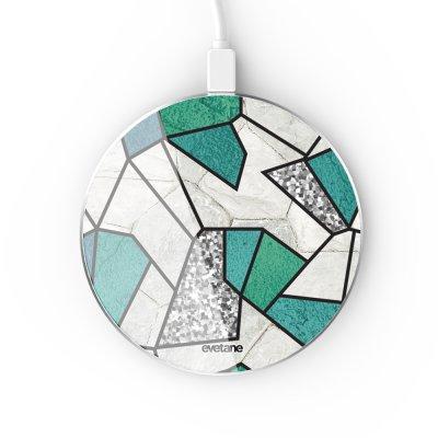 Chargeur Induction contour argent blanc Marbre Bleu Vert et Gris Evetane