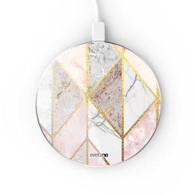 Chargeur Induction contour argent blanc Marbre Rose Losange Evetane