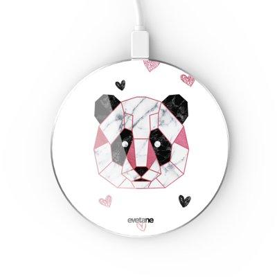 Chargeur Induction contour argent blanc Panda Géométrique Rose Evetane