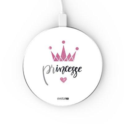 Chargeur Induction contour argent blanc Princesse Couronne Evetane