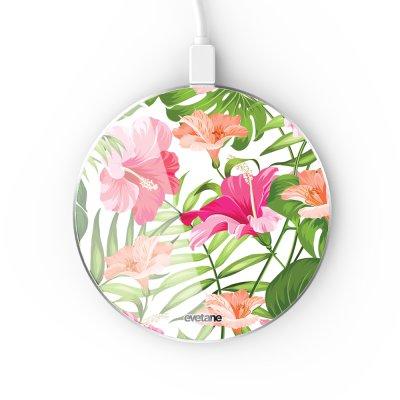 Chargeur Induction contour argent blanc Fleurs Tropicales Evetane