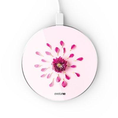 Chargeur Induction contour argent blanc Fleur Rose Fushia Evetane