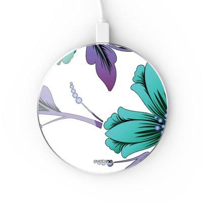 Chargeur Induction contour argent blanc Lys Bleues et violettes Evetane