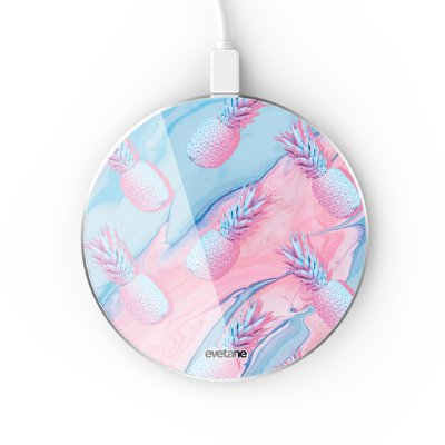 Chargeur Induction contour argent blanc Ananas Bleu et Rose Evetane
