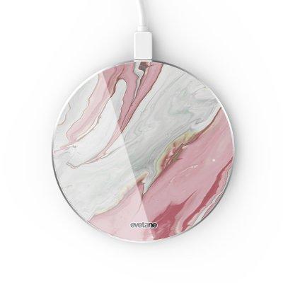 Chargeur Induction contour argent blanc Mercure Rose Evetane