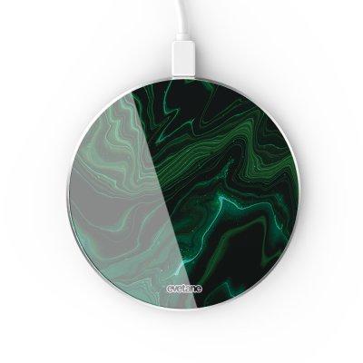 Chargeur Induction contour argent blanc Mercure Vert Evetane
