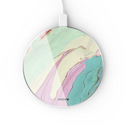 Chargeur Induction contour argent blanc Mercure Pastels Evetane