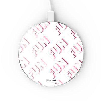 Chargeur Induction contour argent blanc Fun Blanc Evetane