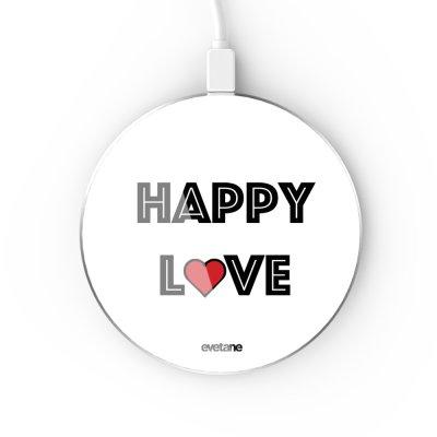 Chargeur Induction contour argent blanc Happy Love Evetane