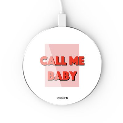 Chargeur Induction contour argent blanc Call me baby Evetane