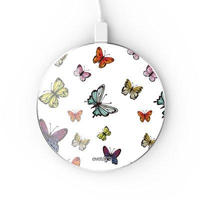 Chargeur Induction contour argent blanc Papillons Multicolors Evetane