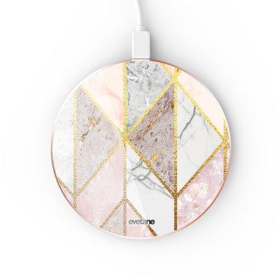 Chargeur Induction contour gold Marbre Rose Losange Evetane