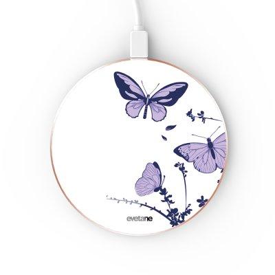 Chargeur Induction contour gold Papillons Violets Evetane