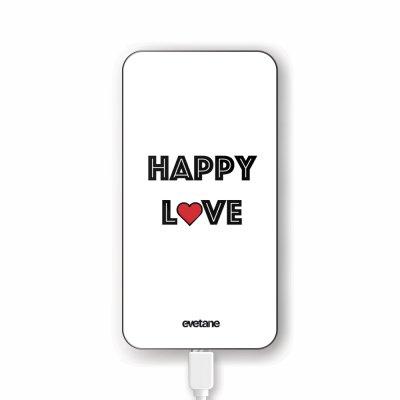 Batterie verre trempé 8000mAh Happy Love Motif Ecriture Tendance Evetane