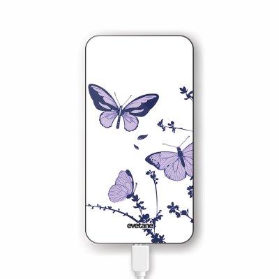 Batterie verre trempé 8000mAh Papillons Violets Motif Ecriture Tendance Evetane