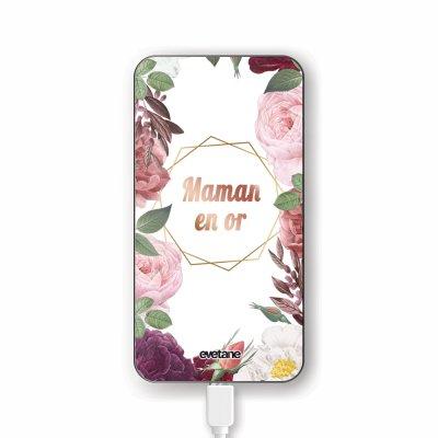 Batterie verre trempé 8000mAh Coeur Maman D'amour Motif Ecriture Tendance Evetane