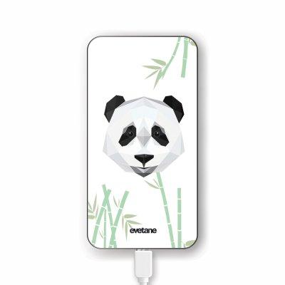 Batterie verre trempé 8000mAh Panda Bambou Motif Ecriture Tendance Evetane