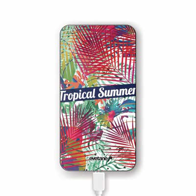 Batterie verre trempé 8000mAh Tropical Summer Motif Ecriture Tendance Evetane