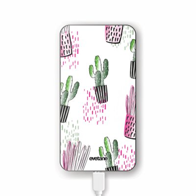 Batterie verre trempé 8000mAh Cactus motifs Motif Ecriture Tendance Evetane