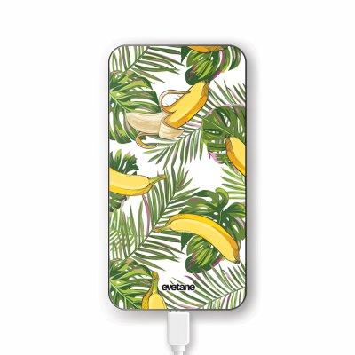 Batterie verre trempé 8000mAh Bananes Tropicales Motif Ecriture Tendance Evetane