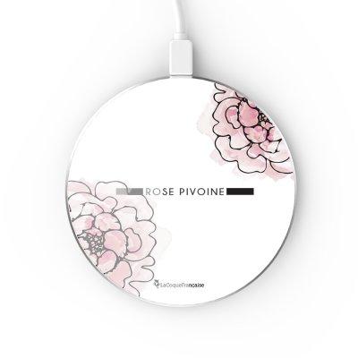 Chargeur Induction contour argent blanc Rose Pivoine La Coque Francaise