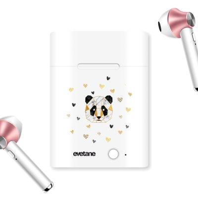 Ecouteurs Sans Fil Bluetooth Rose Gold Panda Géométrique Ecriture Tendance et Design Evetane