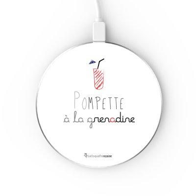 Chargeur Induction contour argent blanc Pompette à la grenadine La Coque Francaise