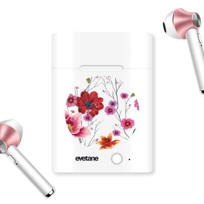 Ecouteurs Sans Fil Bluetooth Rose Gold Fleurs Multicolores Ecriture Tendance et Design Evetane