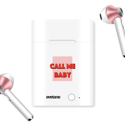 Ecouteurs Sans Fil Bluetooth Rose Gold Call me baby Evetane