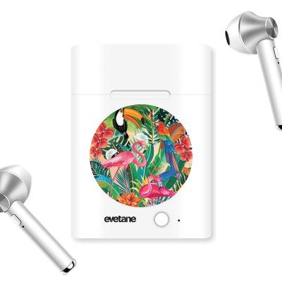 Ecouteurs Sans Fil Bluetooth Argent Animaux Tropicaux Ecriture Tendance et Design Evetane