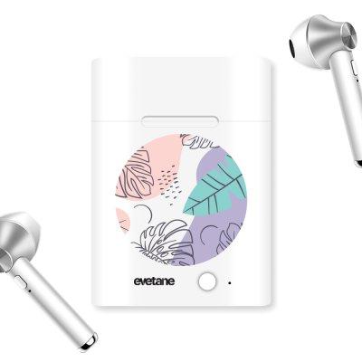 Ecouteurs Sans Fil Bluetooth Argent Feuilles Pastels Ecriture Tendance et Design Evetane