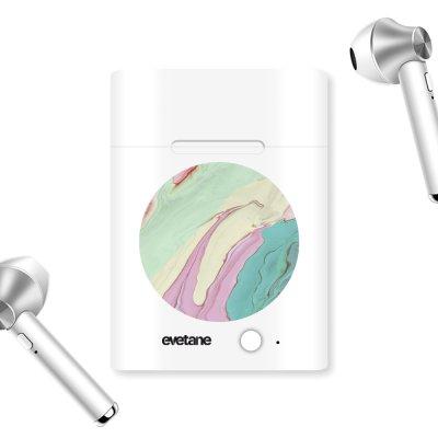 Ecouteurs Sans Fil Bluetooth Argent Mercure Pastels Ecriture Tendance et Design Evetane