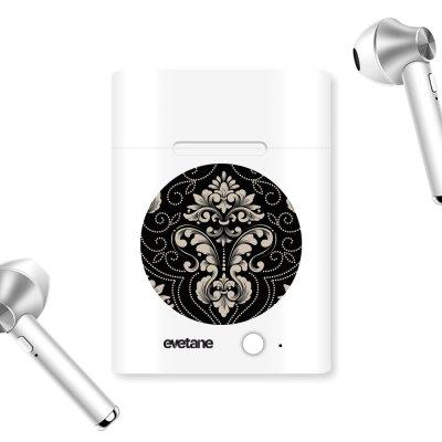 Ecouteurs Sans Fil Bluetooth Argent Ciment Ecriture Tendance et Design Evetane