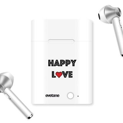 Ecouteurs Sans Fil Bluetooth Argent Happy Love Ecriture Tendance et Design Evetane