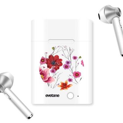 Ecouteurs Sans Fil Bluetooth Argent Fleurs Multicolores Ecriture Tendance et Design Evetane