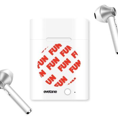 Ecouteurs Sans Fil Bluetooth Argent Fun orange Ecriture Tendance et Design Evetane