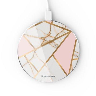 Chargeur Induction contour argent blanc Marbre Rose La Coque Francaise