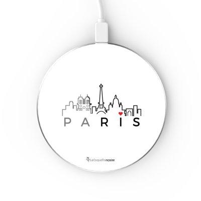 Chargeur Induction contour argent blanc Skyline Paris La Coque Francaise