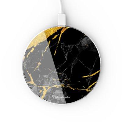 Chargeur Induction contour argent blanc Marbre noir La Coque Francaise