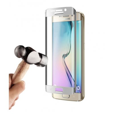 Vitre protectrice avant en verre trempé 3D integrale incurvée pour Samsung Galaxy S7 Edge - Argent